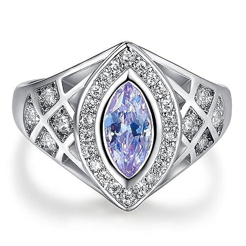Yuren Elegant Fashion Huge Natural 3.5Ct Tanzanite 925 Silver Light Sapphire Ring Women Wedding Engagement Size 6-10 US Code 6