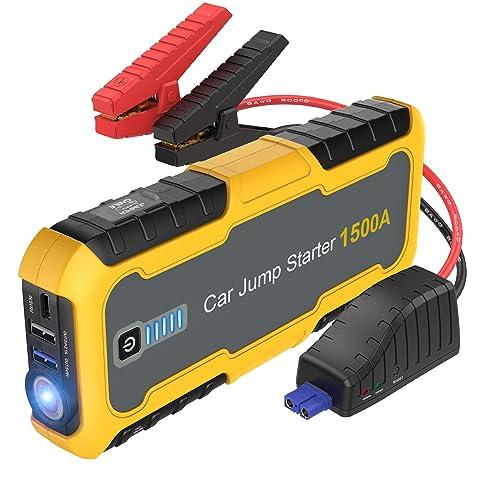 JUMTOP 1500A Peak 12V Lithium Starter Portable Jump Pack 8.0L Gas ...