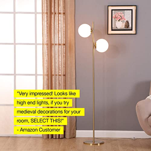 Office Den Contemporary Modern Frosted Glass Globe Lamp with Two Lights- Tall Pole Standing Uplight Lamp for Living Room Bedroom- Bulbs Included- Antique Brass Brightech Sphere LED Floor Lamp
