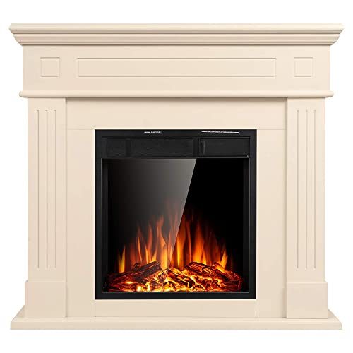 Buy Jamfly Electric Fireplace Mantel Package Wooden Surround Firebox Tv Stand Free Standing Electric Fireplace Heater With Logs Adjustable Led Flame Remote Control 750w 1500w White Online In Hong Kong B07thb17bj