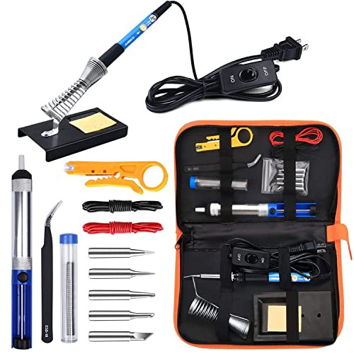 Iron Head Electric Soldering Iron 60W Adjusted Temperature Welding Kit w//Switch