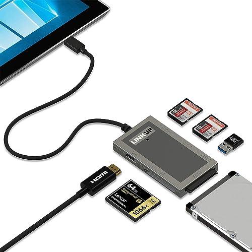 LINKUP Microsoft Surface GO Compatible Docking Station Hard Drive SDXC USB  C Dock | 7-in-1 Expansion Hub | HDMI 4K 2X SD/MicroSD USB-A 3 0 SATA SSD