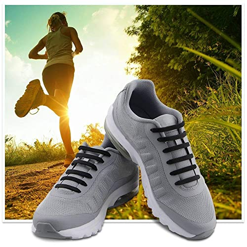 Waterproof Silicone Flat Elastic Athletic Running Shoe Laces for Sneaker Boots Board Shoes and Casual Shoes 2 Pack HOMAR No Tie Shoelaces for Adults