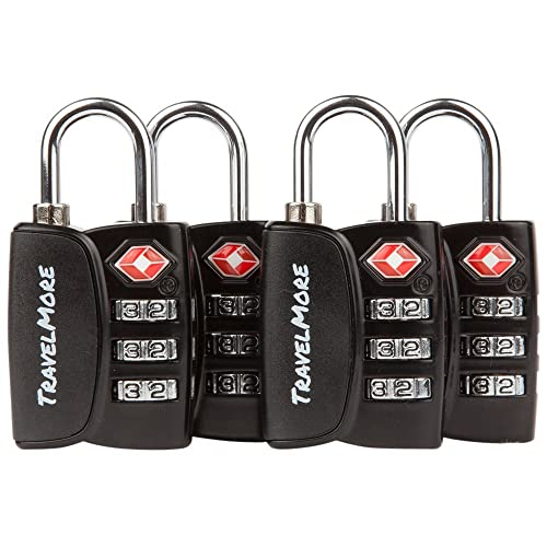 Black Fosmon 4 Digit TSA Approved Luggage locks for Suitcases /& Baggage 1,2,3,4 Pack