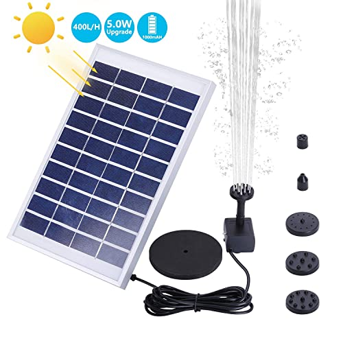 57b7fe5689f2 AISITIN 1000mAh 5.0W Solar Fountain Pump, Solar Water Pump Floating  Fountain Built-in Battery, with 6 Nozzles, for Bird Bath, Fish Tank, Pond  or ...