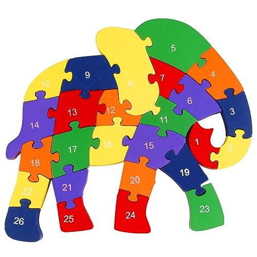 1 Set Kids Educational Alphabet 3d Puzzle Elephant Shape Winding Wooden Toy Gift