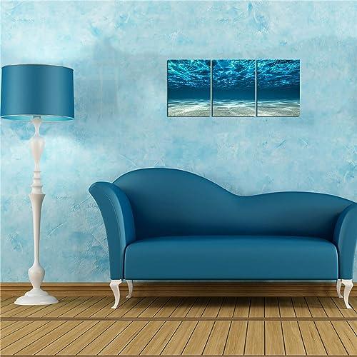 3 Pieces 12x16in Lingula Blue Ocean Canvas Wall Decor Beach Theme Bottom