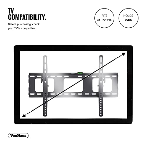 "VonHaus Ultra Slim Full Motion TV Bracket for 32-70/"" TVs Wall Mount Full Bundle"
