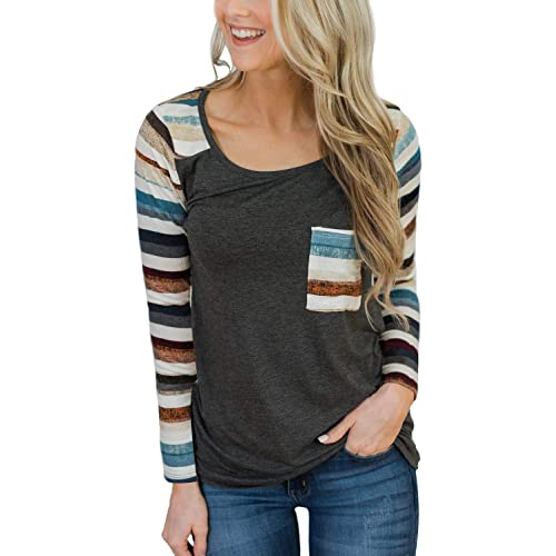 GADEWAKE Womens Casual Printed Pattern Striped Color Block Pocket Long Sleeve Round Neck T Shirts Blouses Tops