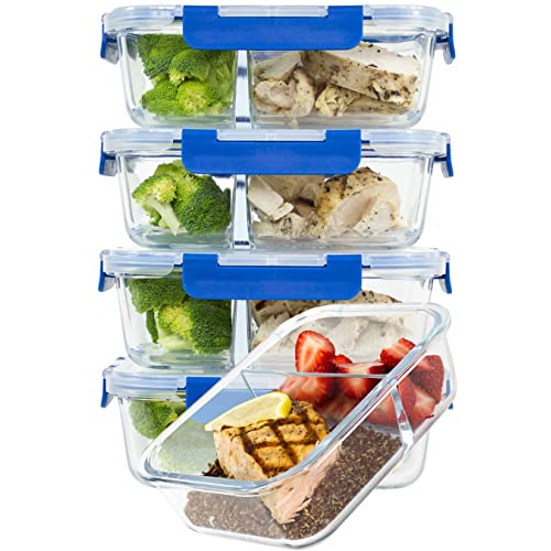 Glass Meal Prep Containers 2 Compartment 5 Pcs Food Storage with Lids...