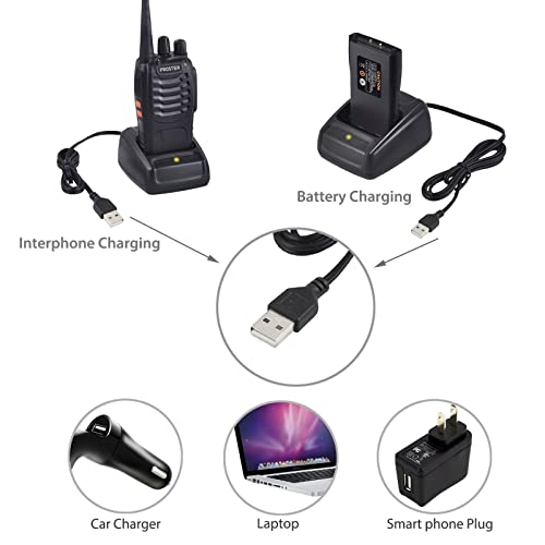 Proster Walkie Talkies Rechargeable 16 Channel 2-Way Radios CTCSS DCS 2-Pair