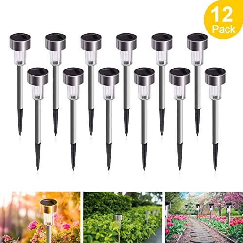 Sunnest Solar Garden Lights Outdoor 12 Pack Led Solar Powered Pathway Lights Stainless Steel Landscape Lighting For Lawn Patio Yard Walkway Driveway Buy Products Online With Ubuy Hong Kong In Affordable