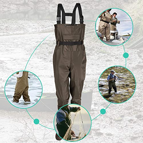 Chest Fishing Waders Wading Boots Waterproof Insulated Breathable Nylon PVC 11