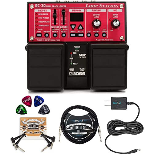 and Austin Bazaar Polishing Cloth Picks Boss EQ-200 Graphic Equalizer Pedal Bundle with Power Supply Patch Cable Instrument Cable