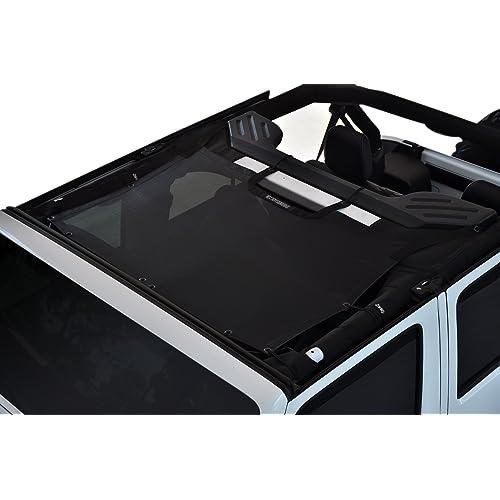 Savadicar Mesh Shade Top Full Sunshade Cover for 2007-2018 Jeep Wrangler JK JKU 4-Door Black Durable Polyester Provide UV Protection