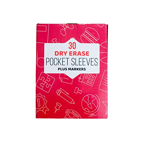 "Markers Included Protector Saves Paper Dry Erase Pockets 13 Pack of 10 x 13"" Clear Reusable Sleeves that Write and Wipe Clean Pocket Holds Multiple Sheets Perfect for Homeschool and Teachers"