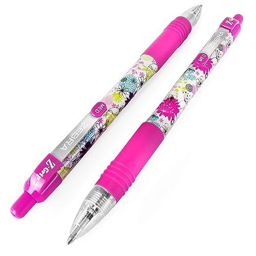 Animal Pattern Retractable Black Ballpoint Pen Pack of 6 Zebra Z-Grip Funky