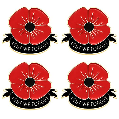 Buy CAROMAY Red Poppy Brooch Pin Remembrance Day Lest We