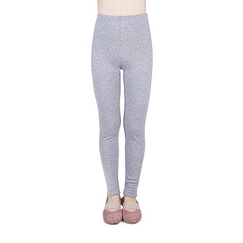 IRELIA Kids Girls 100/% Cotton Fleece Lined Solid Leggings Warm Pants for Winter