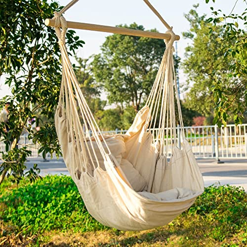 Any Indoor or Outdoor Patio Porch 2 Seat Cushions Included Beige Bedroom DuraB Hanging Rope Hammock Chair Swing Seat for Yard