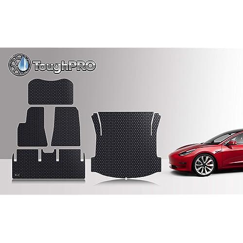 For 2017-2018 Tesla Model 3 Black Rubber 1st 2nd Row Full Set Floor Mat Liner