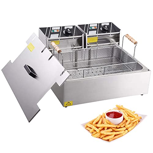 12L Dual Tank YB-82 MosaicAL Deep Fryer Commercial Electric Fryer 12L 5000W Twin Basket Electric Dual Tank Countertop Stainless Steel French Fry