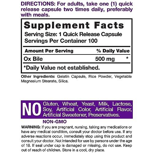 Buy Horbaach Ox Bile 500 mg 100 Capsules | Non-GMO & Gluten Free