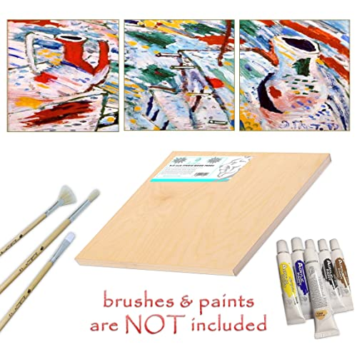 25 x 25 cm Daveliou 10x10 inch Wooden Painting Board 5-Pack Birch Wood Cradle Panel Boards Wood Canvas Craft Supplies Used by Artists for Crafts Painting and Encaustic Art