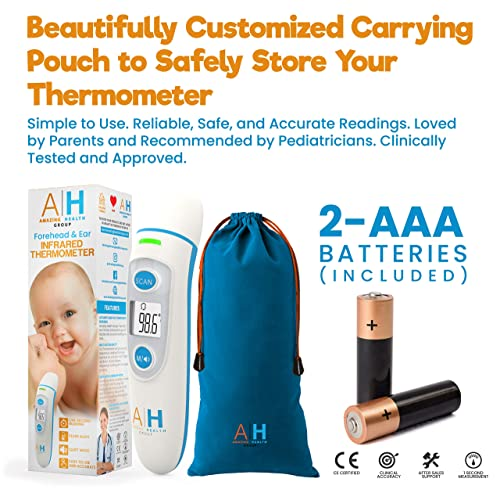 Tovendor Medical Infrared Digital Thermometer 1s Accurate Instant Reading with Fever Reminder Children and Adult Forehead and Ear Thermometer for Infant