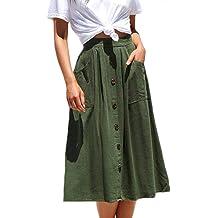 9f331642e Meyeeka Womens Casual High Waist Flared A-line Skirt Pleated Midi Skirt  with Pocket