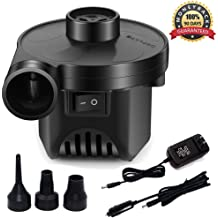 Sopito Electric Air Pump,DC12V AC 100-240V Quick-Fill Portable Air Pump with 3 Pump Nozzles for Inflatable Air Bed Lake Floats Rafts Pool Toys