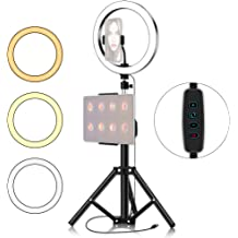 HUANGMENG Tripod Tripod Mount 6.2 inch 16cm LED Ring Vlogging Video Light Kits HUANGMENG Live Broadcast Dual Phone Bracket