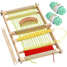 Kissbuty Wooden Multi-Craft Weaving Loom Large Weaving Frame 9.85x 15.76x 1.3 Inches to Handcraft for Kids and Beginners Wooden