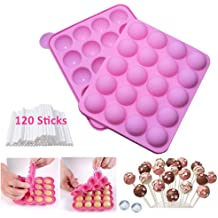 Hard Candy Lollipop and Party Cupcake with 24-count Paper Sticks Oggibox 15-Cavity Silicone Mold for Cake Pop Recipe Included