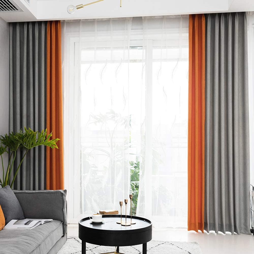 Linen Textured Curtains For Living, Window Treatments For Living Room