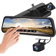 Campark Mirror Dash Cam 1080P FHD Dual Lens 5 Inch IPS Touch Screen 170/° Front and Rear View Waterproof Backup Camera with G-Sensor Parking Monitor Motion Detection
