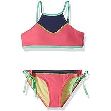 Hobie Big Girls Bandeau Top /& Side Sash Hipster Bottom Swimsuit Set