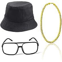 Gold Baseball Cap, Boom Box Hip Hop Costume Kit Hat Sunglasses Gold Chain 80s// 90s Rapper Accessories
