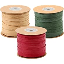 Festival Gifts DIY Decoration and Weaving Ifnow Raffia Ribbon 656 Feet Each Roll Packing Paper Twine Wrapping Ribbon for Christmas Red, Green, Kraft