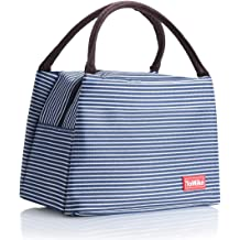 Makalon Lunch Bags,Insulated Cold Canvas Stripe Picnic Carry Case Thermal Portable Lunch Bag for Women Kids Blue