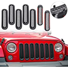 Red Hound Auto 7 Front Grille Inserts Guard 2007-2018 Compatible with Jeep Wrangler JK and Unlimited Black Grill Trim Cover