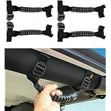 Sukemichi Jeep Grab Handles Black Roll Bar Paracord Grab Handles for Jeep Wrangler CJ YJ TJ JK JL 1987-2020