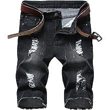 chouyatou Mens Distressed Skinny-Fit Ruched Biker Bermuda Denim Jean Shorts