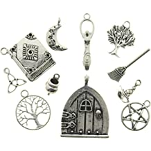 AVBeads Clip-On Clasp Metal Silver Pagan Wiccan Cauldron Halloween Witch Charms