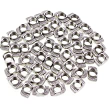 50PCS Wimas 50Pack 2020 Series M5 T-Nuts Carbon Steel Nickel-plated Half Round Roll In Sliding T Slot Nut