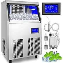 14.6 Wide Silver Chefs Exclusive CE105 OUTDOOR Built-In Under Counter Clear Ice Maker Machine with Drain Pump and Internal LED Reversible Door 60 Pounds Per Day and 25 Pound Storage Capacity
