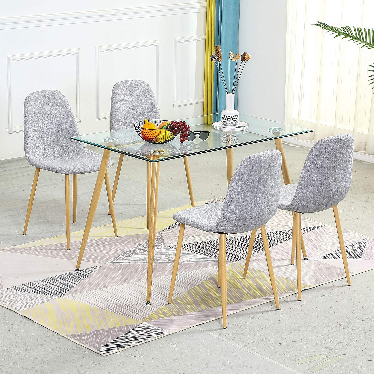 Tempered Glass Top Dining Table, Modern Dining Room Table And Chairs Set