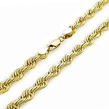 "10K Yellow Gold 2mm Rope Chain Diamond Cut Dainty Pendant Necklace Women 16/""-24/"""