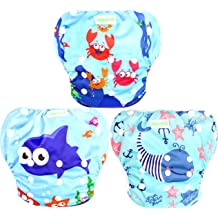 Penguin + Sea Animals LUXJA Reusable Swim Diaper Adjustable Swimming Diaper for Baby Pack of 2 0-3 Years