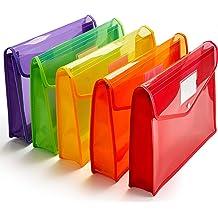 Pack of 6 Assorted 50125-3429 Elastic Closure Letter Filexec Single Pocket Expanding File